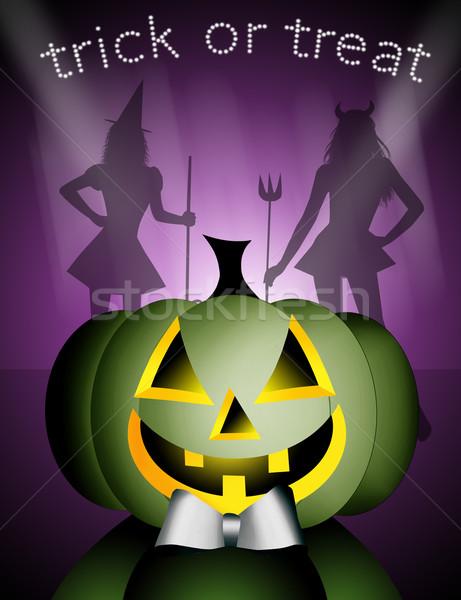Szczęśliwy halloween ilustracja strony maska hat Zdjęcia stock © sognolucido