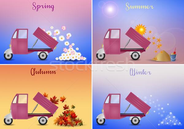 Cztery sezon ilustracja cztery pory roku kwiaty słońce Zdjęcia stock © sognolucido