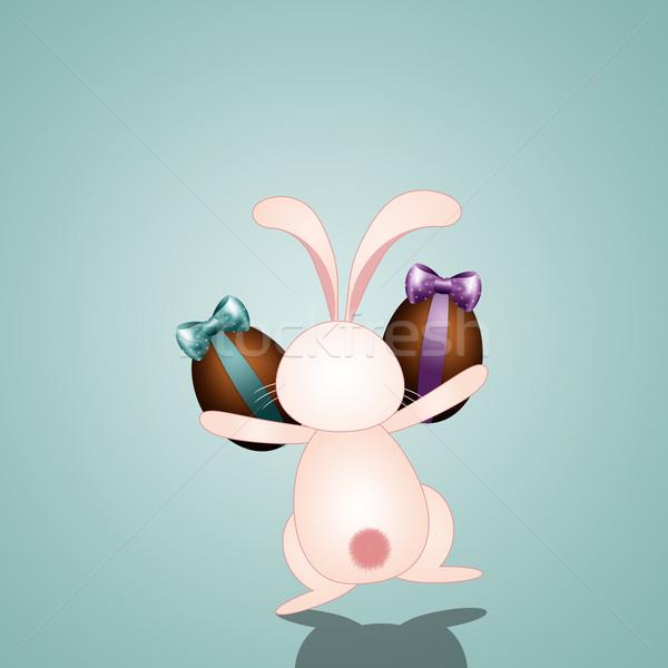 ストックフォト: 面白い · ウサギ · チョコレート · イースターエッグ · バニー · 卵