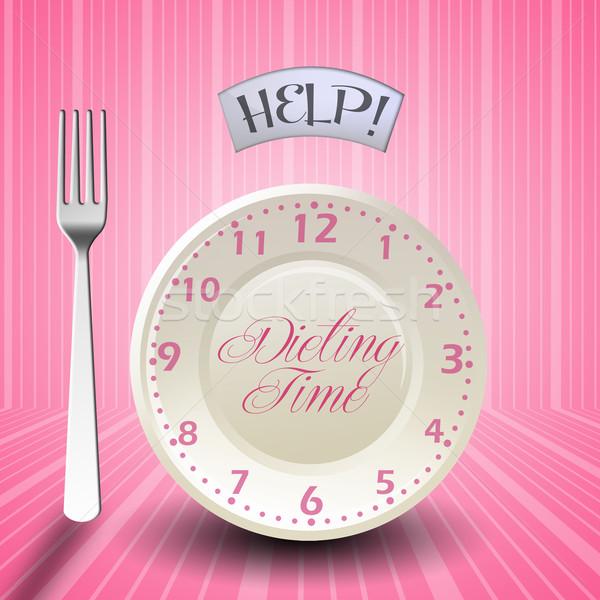 диеты время иллюстрация диета пластина вилка Сток-фото © sognolucido