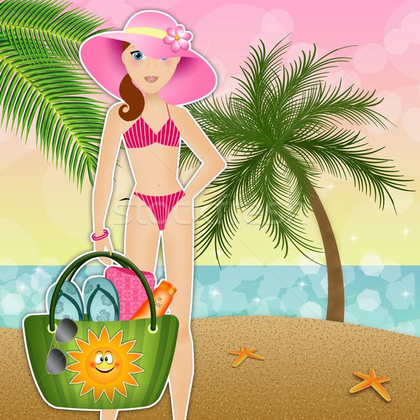 Woman in bikini on hte beach Stock photo © sognolucido