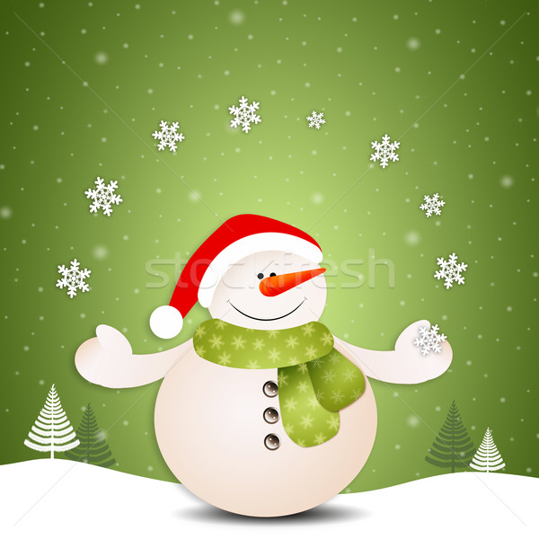 Funny snowman with snowflakes Stock photo © sognolucido