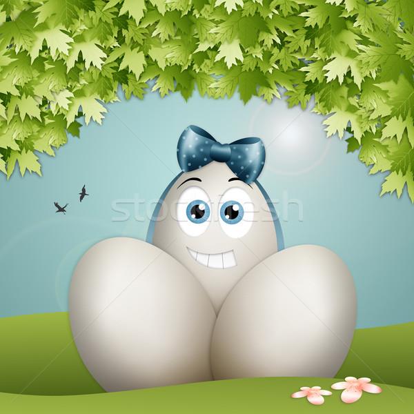 смешные пасхальных яиц пасхальное яйцо лента Пасху весны Сток-фото © sognolucido