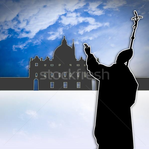 Pápa Vatikán illusztráció sziluett templom galamb Stock fotó © sognolucido