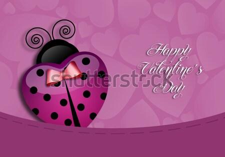 Ladybug serca walentynki miłości karty uroczystości Zdjęcia stock © sognolucido