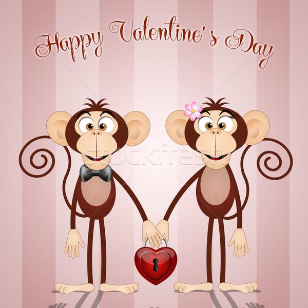 счастливым иллюстрация Обезьяны любви сердце Сток-фото © sognolucido