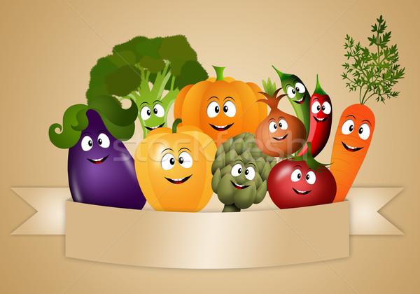 Veganistisch voedsel grappig groenten illustratie gezondheid Stockfoto © sognolucido