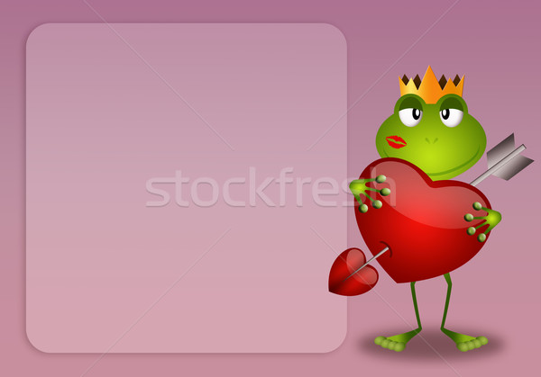 Frog with heart in Valentine's Day Stock photo © sognolucido