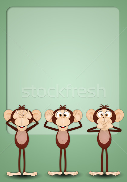 Tres sabio ilustración monos boca hablar Foto stock © sognolucido