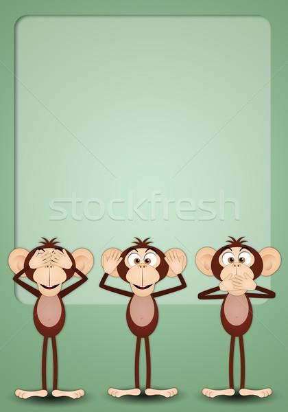 Trois judicieux illustration singes bouche parler Photo stock © sognolucido