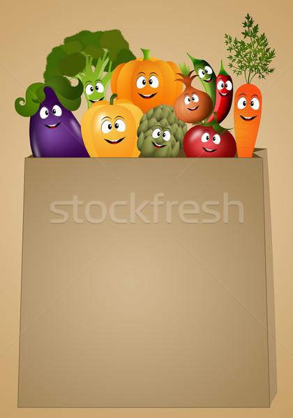 Foto stock: Vegan · comida · legumes · ilustração · engraçado · saúde