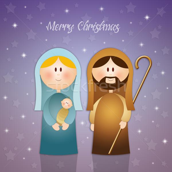 Merry Christmas with Nativity scene Stock photo © sognolucido