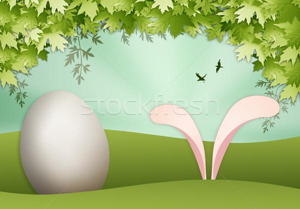 Królik jaj Wielkanoc funny jaj wesołych Świąt Zdjęcia stock © sognolucido