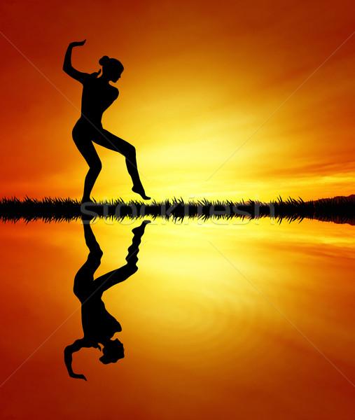 Stok fotoğraf: Dans · kadın · gün · batımı · örnek · dansçı · parti