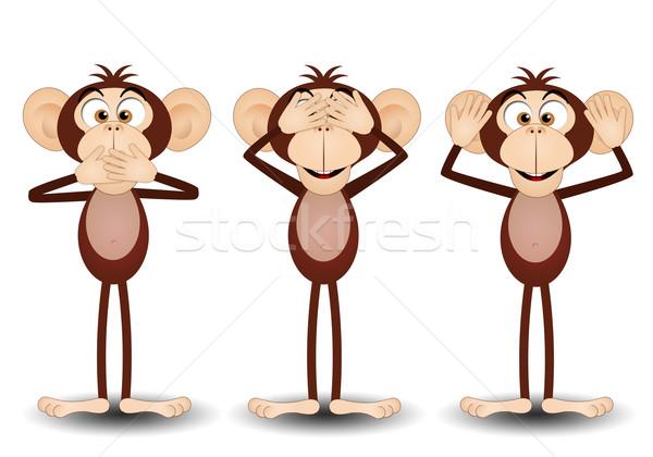 Tres sabio monos ilustración boca hablar Foto stock © sognolucido