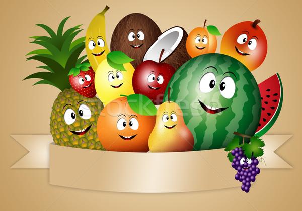 Funny owoce ilustracja diety zdrowia Zdjęcia stock © sognolucido