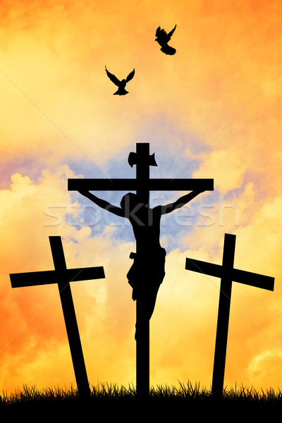 Crucifixion at sunset Stock photo © sognolucido
