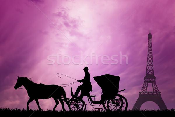 Fuvar Párizs illusztráció város tájkép retro Stock fotó © sognolucido