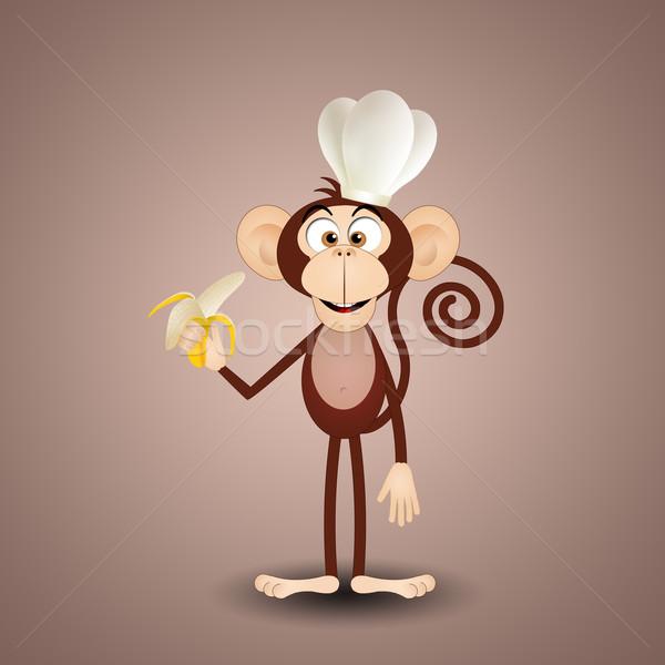 猿 バナナ 実例 シェフ 帽子 食品 ストックフォト © sognolucido