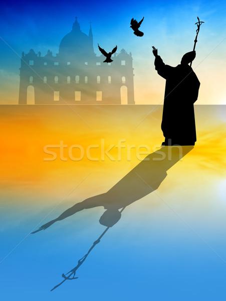 法王 シルエット 日没 教会 鳩 祈る ストックフォト © sognolucido