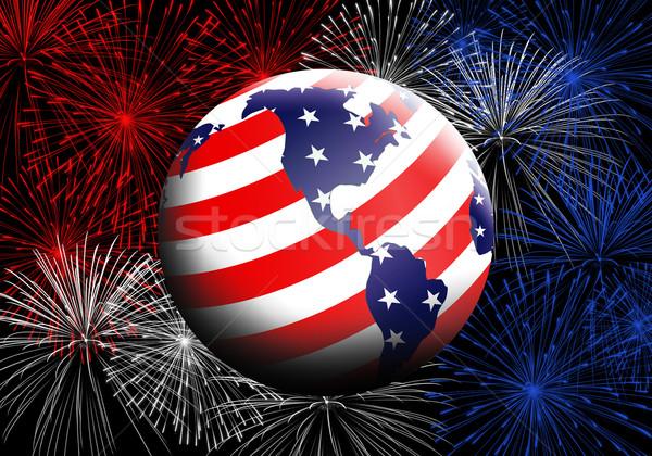 земле американский флаг иллюстрация американский синий флаг Сток-фото © sognolucido