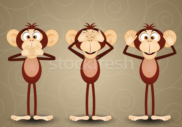 üç bilge monkeys örnek ağız konuşmak Stok fotoğraf © sognolucido