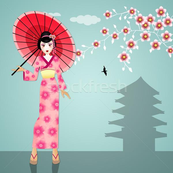 Gésa esernyő illusztráció nő arc ázsiai Stock fotó © sognolucido