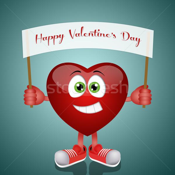 Szczęśliwy walentynki ilustracja funny serca wiadomość Zdjęcia stock © sognolucido