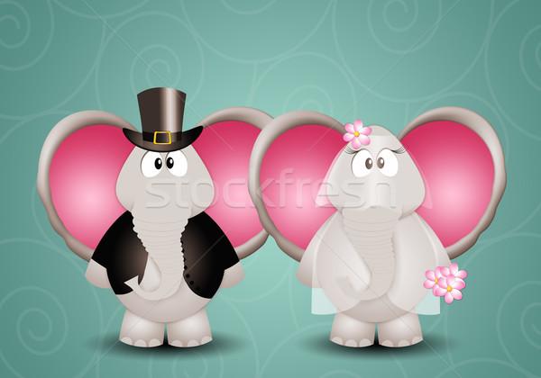 Слоны иллюстрация пару свадьба любви женат Сток-фото © sognolucido
