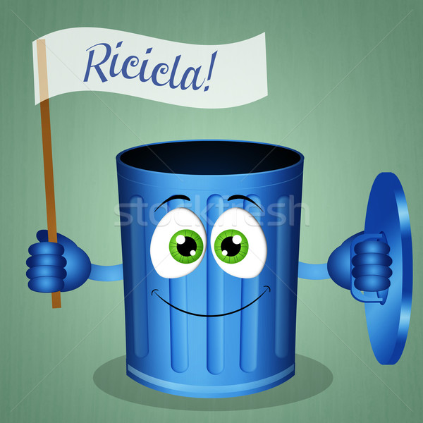 Funny garbage bin for recycle Stock photo © sognolucido