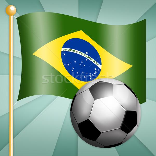 Soccer ball with Brazilian flag Stock photo © sognolucido
