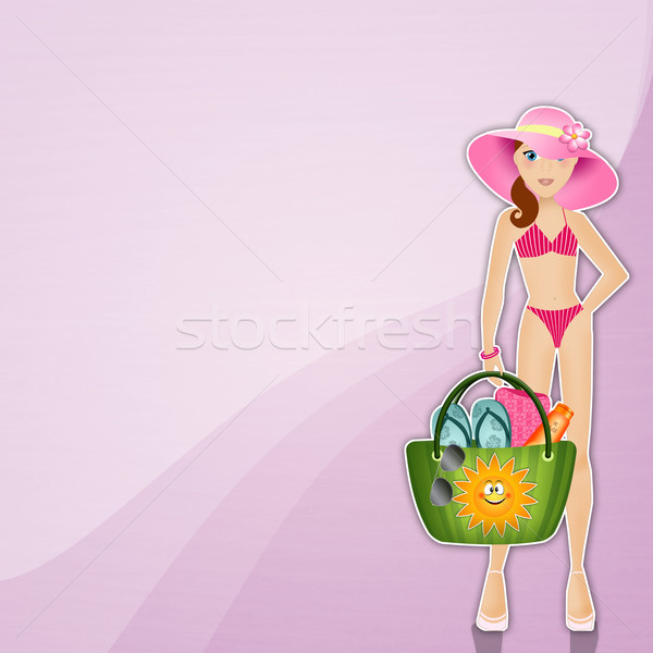 Woman with beach bag background Stock photo © sognolucido