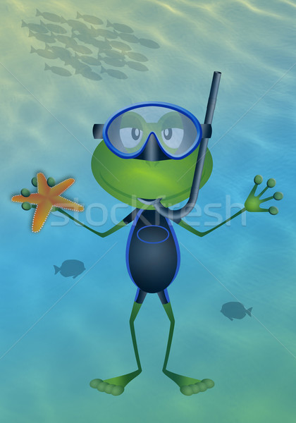 Frog with diving mask at sea Stock photo © sognolucido