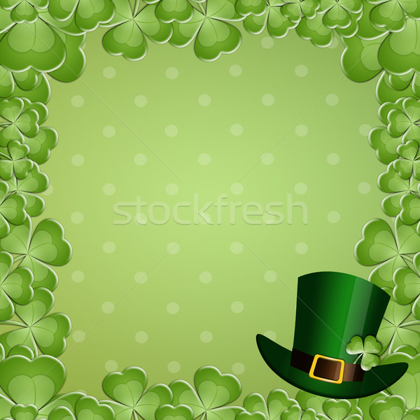 Green clovers with gree hat for St. Patrick's Day Stock photo © sognolucido