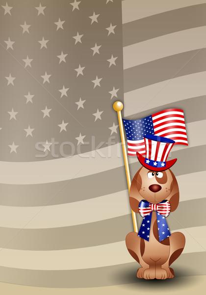 Köpek amerikan bayrağı komik amerikan şapka mavi Stok fotoğraf © sognolucido