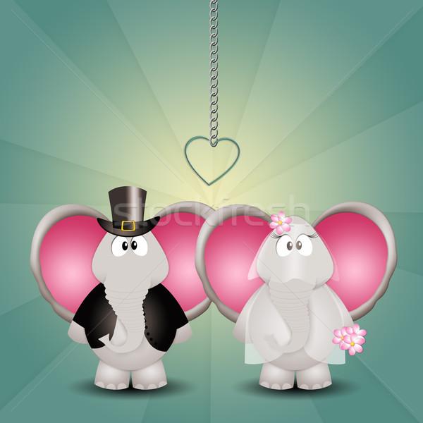 Elefántok friss házasok illusztráció pár esküvő szeretet Stock fotó © sognolucido