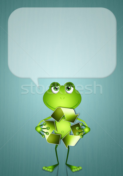 Frog with recycle symbol Stock photo © sognolucido