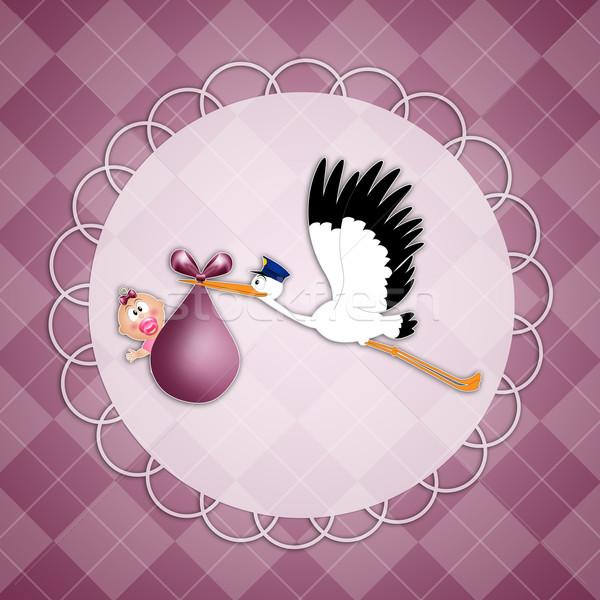 Gólya kislány születés képeslap baba gyermek Stock fotó © sognolucido
