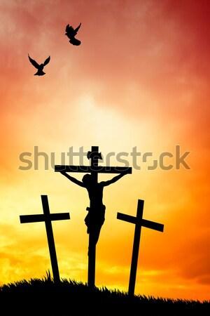 crucifixion at sunset Stock photo © sognolucido
