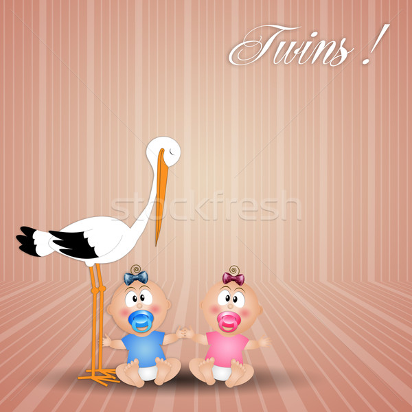 stork with twins, male and female Stock photo © sognolucido