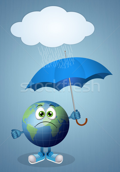 Earth with umbrella and rain Stock photo © sognolucido