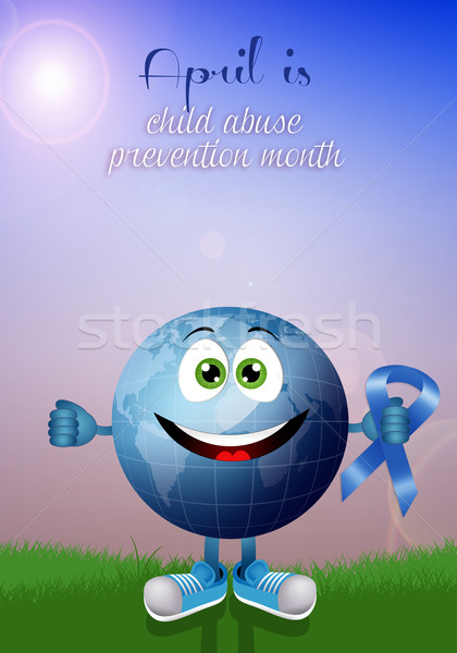 Funny earth with blue ribbon  Stock photo © sognolucido