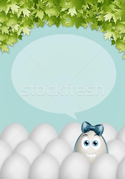 смешные пасхальное яйцо пасхальных яиц Пасху цветок лист Сток-фото © sognolucido