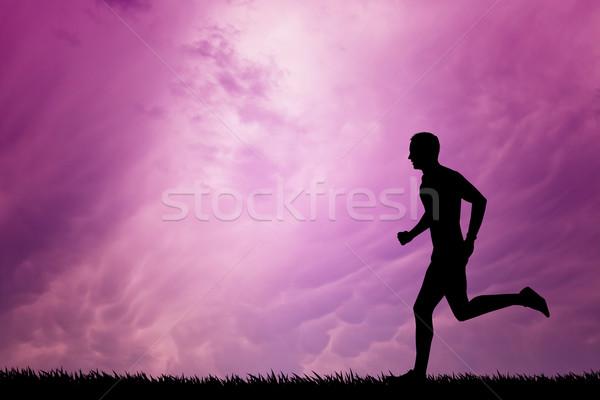 Lopen man zonsondergang illustratie jogging snelheid Stockfoto © sognolucido