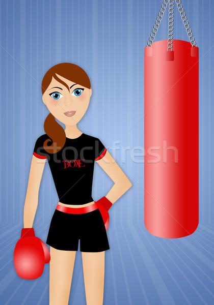 Woman doing boxe Stock photo © sognolucido