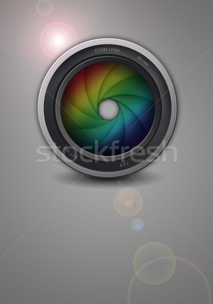 Illustration professionnels lentille caméra vidéo photographe Photo stock © sognolucido