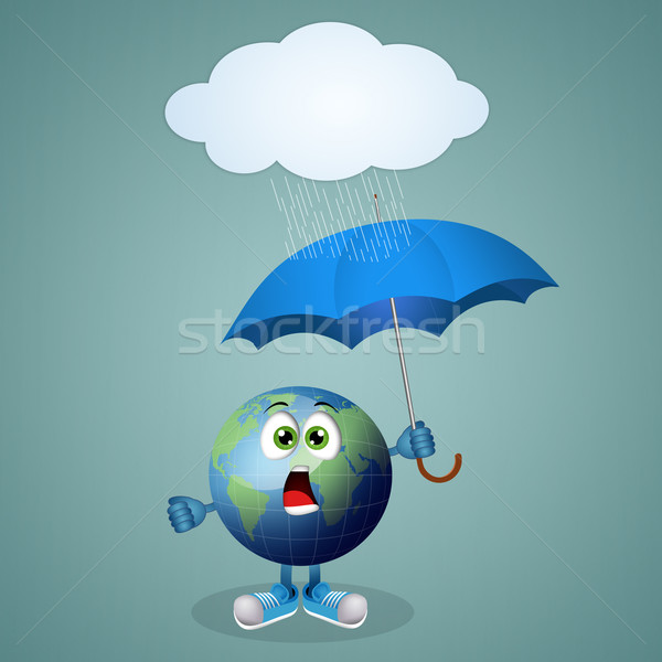 funny earth with umbrella Stock photo © sognolucido