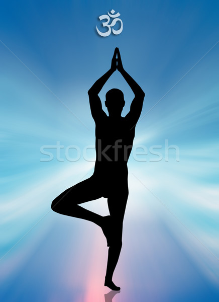 Man in yoga meditation Stock photo © sognolucido