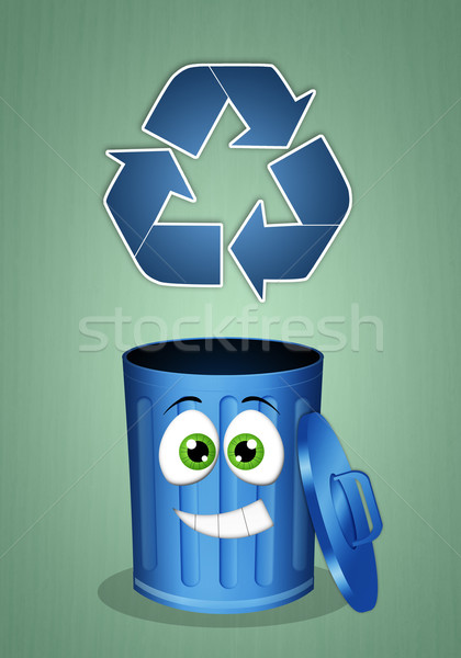 Funny garbage bin for recycling Stock photo © sognolucido