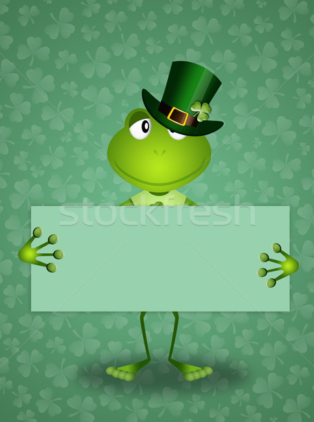 Frog with clovers in St. Patrick's Day Stock photo © sognolucido